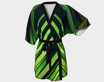 Diagonal Green/Black Abstract Kimono Robe, Robe, Bath Robe, Lounge Wear, Spa Coverup, Swim Coverup, Gift for Him/Her, Bridesmaid Robe