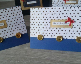 Handmade birthday cards / Assortment / 4pk / blue, white and gold metallic