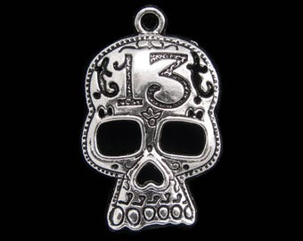 Antique Silver Skull Mask Pendant Charm