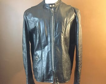 Brooks black cafe racer leather jacket men's size 42