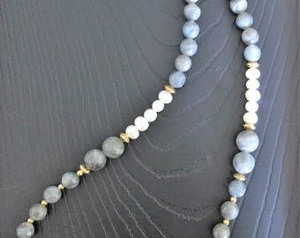 Labradorite and white pearl necklace with gold spacer beads.