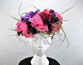 Big pink and purple flower crown with brushwood