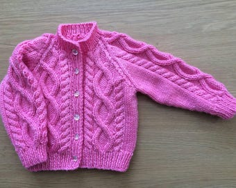 Girls Aran cardigan