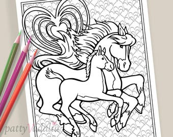 Horse. Baby Horse. Foal. Coloring. Coloring Page. Coloring Pages for Kids and Adults. Adult Coloring Pages. Printables. Instant Download.