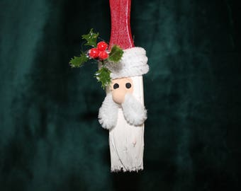 Santa ornament made from paint brush, free shipping