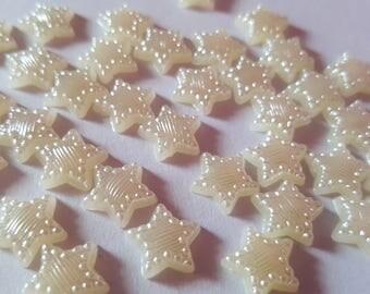 11mm star cabochons, Pearl star cabochons, Star cabochons, Pearl cabochons, Cabochons, Flatback cabochons, Acrylic cabochons, Pearl, Star