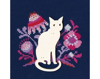 "RTO counted cross-stitch kit with plywood form ""Cat"", CBE9005"