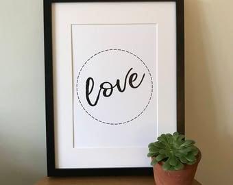 Monochrome Wall Print; A4 love
