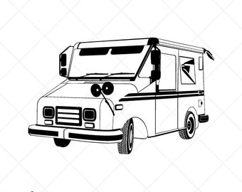 Mail truck vector | EtsyUsps Delivery Truck Clipart