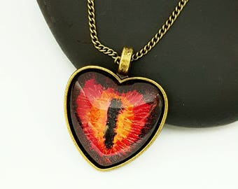 Glow in the Dark Heart Eye Pendant/ Eye Necklace/ Bronze Necklace/ Gifts For Women/ Fantasy Jewelry/ Hand Painted Jewelry/  Eye of Sauron