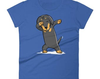 Funny Dabbing Dachshund Shirt, Cute Dab Dance Dog Gift, Doxie Women's T-Shirt