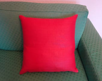 Pillow cover made of red linen