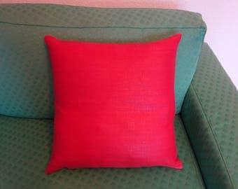 Red Linen Pillows