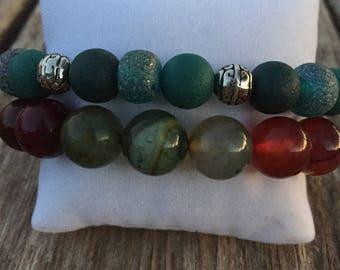 Cranberry & Evergreen - Cranberry and Evergreen Glass Beads, Silver Spacers