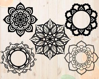 Flower Mandala Svg, Mandala flower dxf, Mandala frame cut files, Mandalas vector for cricut & silhouette, Mandala monogram svg, eps files