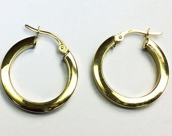 "14k solid yellow gold(1""inch)square cut hoop earrings(1.7gr)"