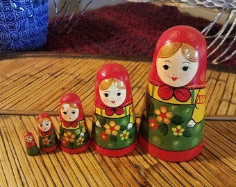 Vintage Matryoshka Russian Nesting Dolls Russian Dolls Hand Painted Multicolored Wooden Dolls Stacking Dolls