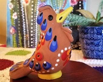 Vintage Hand Painted Colorful Bird Figurine Pottery Terracotta Clay Bird Sculpture Folk Art Bird Whistle