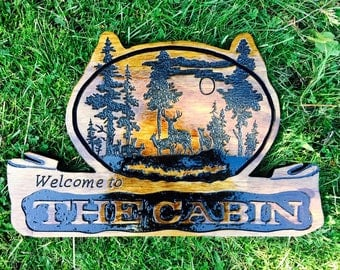 Hand Routered exterior Cabin sign
