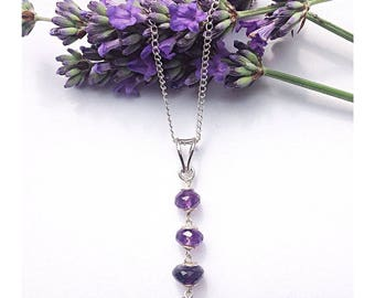 Stunning sterling silver & faceted amethyst pendant necklace