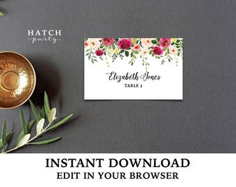 Editable Tent Cards, INSTANT DOWNLOAD, Printable Template, place cards, wedding - JACQUELINE collection, edit text, font, font colors & more
