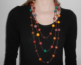 Long necklace,Beaded necklace,Polymer clay necklace