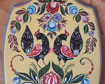 "Handpainted cutting board in the style of the Gorodets painting for kitchen decor ""Birds of happiness"""