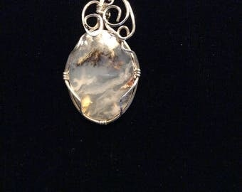 Necklace Pendant  Agate wire wrapped in silver wire.  Gray tones.