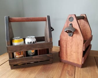 Handcrafted bottle crate with bottle opener