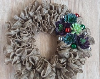 Christmas Wreath, Holiday Wreath, Faux Succulent Wreath, Burlap Wreath, Ruffle Wreath, Indoor Wreath, Outdoor Wreath, Rustic Wreath, Home