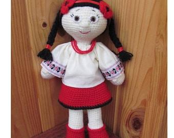 Doll handmade Ukrainian knitted souvenir 11.5 inc. Gift Toys