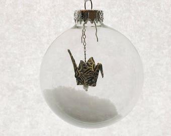"Christmas Tree Ornament - Japanese Origami Paper Crane (3.5"" Black/Gold Lines)"
