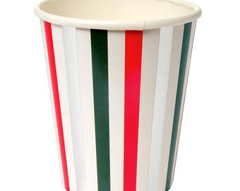 Paper Cups | Party Cups | Christmas Cups | Christmas Party | Red, Green, Silver Striped Cups | Christmas Party | Christmas Decoration | Cups
