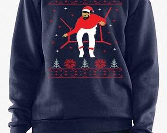 Holiday Bling Ugly Christmas Sweater Xmas Hotlne Santa Hat Shirt Sweatshirt Drake