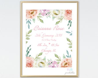 Birth Announcement Printable. Custom birth poster. Personalized Baby Gift. Nursery Watercolor Floral. Digital download. Baby shower gift.