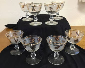 """Set of Eight Champagne/Sherbet Glasses from Libbey's """"Golden Foliage"""" Pattern"""