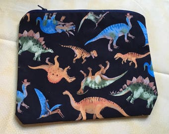 Dinosaurs on Black Pouch