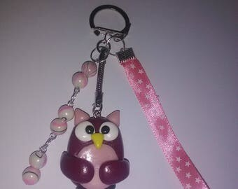 Burgundy and pink OWL in polymer clay keychain