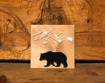 Birch Plywood Bear and Mountain String Art
