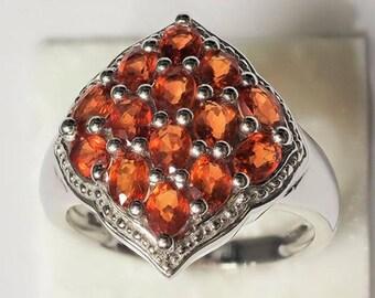 Sterling Silver Orange Sapphire Ring, Size 7.75 , Girlfriend Gift