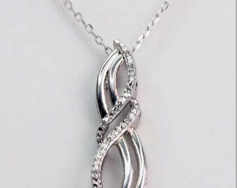 Natural Diamond Pendant in 925 Sterling Silver
