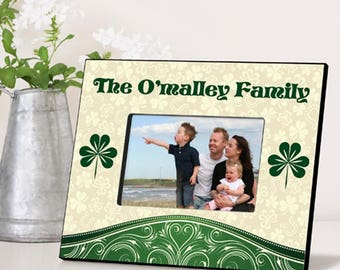 Personalized Cream and Clover Picture Frame - Irish Family Photo Frames - Irish Family Picture Frames - Personalized Irish Photo Frames