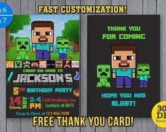 Minecraft Invitations Etsy