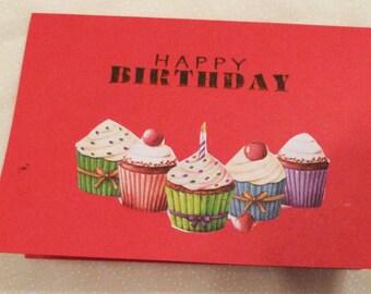 Handmade Greeting Card, Birthday Greeting Card,  Mini Cupcakes on Red Birthday Card, Made in the USA, #14