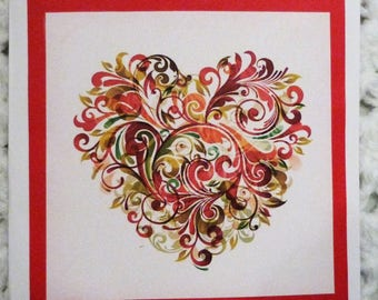 Multi Color Heart On Red Valentine  Greeting Card, Handmade Green Card, Made in the USA, #339