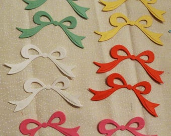 """Little Bows Die Cuts, Set of ten Bows, Asstd Color Bows, Sizes 2.5"""" x 1 and 1/8"""". Made in the USA, #7"""