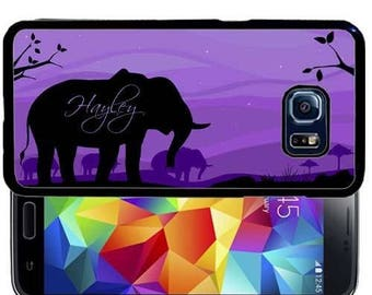 Personalized Rubber Case For Samsung Note 3, Note 4, Note 5, or Note 8- Purple Elephant