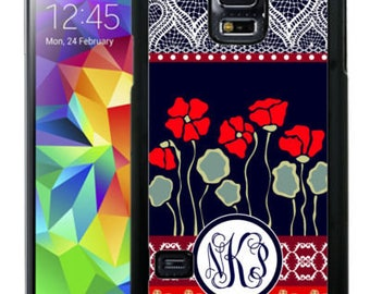 Monogrammed Rubber Case For Samsung Note 3, Note 4, Note 5, or Note 8- Navy Red Poppies Lace