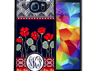 Monogrammed Rubber Case For Samsung S5, S6, S6 edge, S6 Edge Plus, S7, S7 Edge,  8, 8 plus - Navy Red Poppies Lace