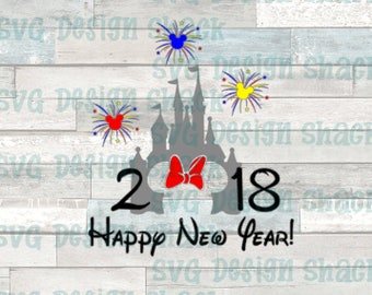 Castle Happy New Year Minnie Mouse SVG, DXF, EPS, Studio 3, Png